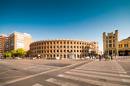 toros: VALENCIA; SPAIN - JULY 14; 2015: Bull fighting arena- Plaza de Toros in Valencia. The stadium holds 10500 people. Was built in 1841 (arch. Sebastian Monleon)