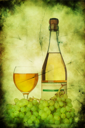 grunge bottle: Grapes, wineglass and bottle on green grunge background Stock Photo