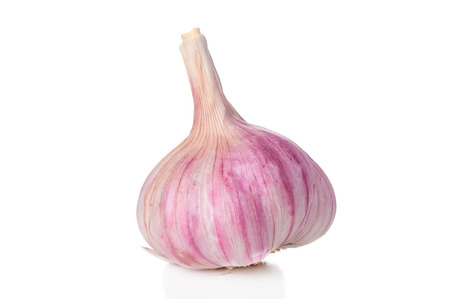 fresh garlic: Garlic closeup on white background Stock Photo