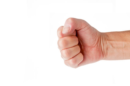 fist clenched: Fist closeup isolated on white background