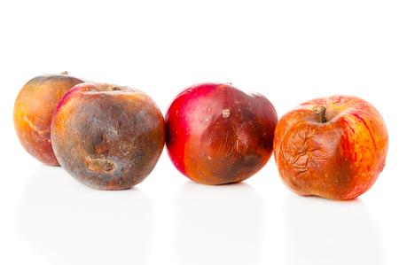 Rotten apples on white background Foto de archivo