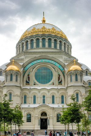 naval: ST. PETERSBURG, RUSSIA - JULY 25, 2015:  The Naval cathedral of Saint Nicholas in Kronstadt, Russia Editorial