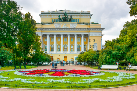 city pushkin: ST. PETERSBURG, RUSSIA - JULY 26, 2015: Alexandrinsky (Pushkin) Theatre in St. Petersburg, Russia. Architect by Carlo Rossi.