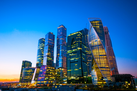 business center: Buildings of Moscow business center at night Stock Photo