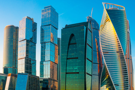 steel building: Modern skyscrapers of Moscow city, Russia