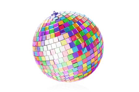 disco mirrorball: Multicolor disco ball on white background
