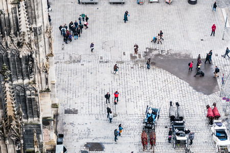 stephansplatz: VIENNA, AUSTRIA - OCTOBER 19, 2015: Aerial view of  Stephansplatz with tourists and  fiakers in Vienna, Austria