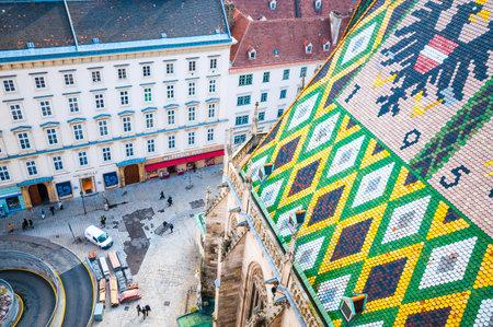 stephansplatz: Aerial view of Stephansplatz with tourists in Vienna, Austria