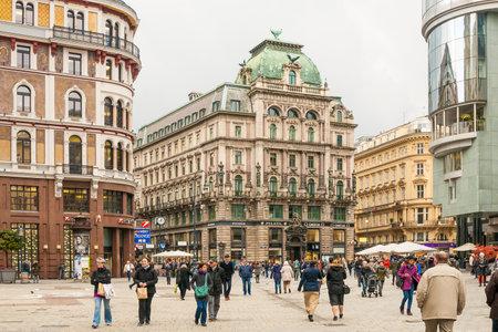 stephansplatz: Tourists on Stephansplatz Stephens Square in old town in Vienna, Austria