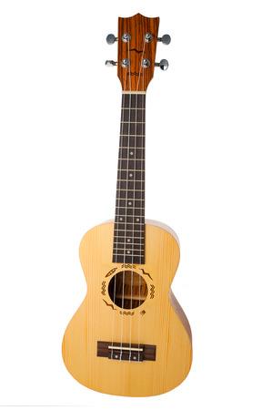 stringed: Hawaiian four stringed ukulele guitar isolated on white background