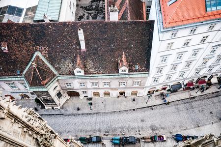 stephansplatz: Aerial view of Stephansplatz with tourists and fiakers in Vienna, Austria