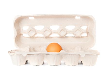 molded: Egg in molded carton on white background Stock Photo