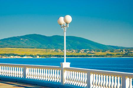 balustrade: Balustrade and lantern on blue sky background