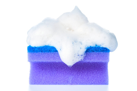 soapy: Soapy sponge on white background