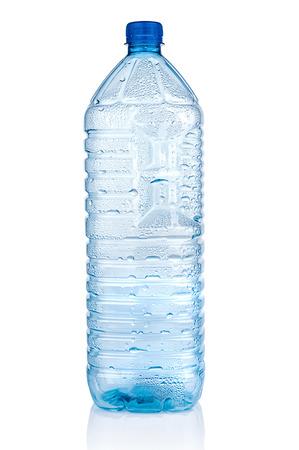 Empty plastic bottle on white background