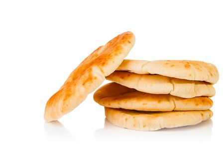 pita: Fresh pita bread on white background Stock Photo