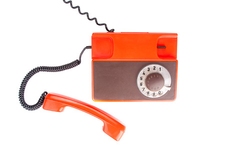 antique telephone: Antique telephone on white background. Top view Stock Photo