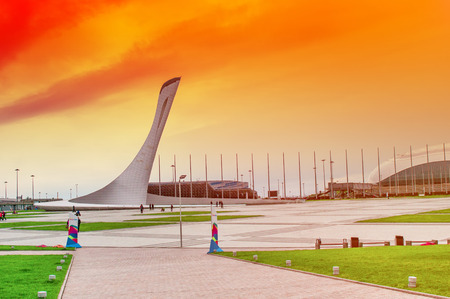 olympic: Sochi Olympic Fire Bowl in the Olympic Park at sunset