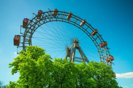 prater: Giant Ferris Wheel against blue sky in Prater Park in Vienna, Austria