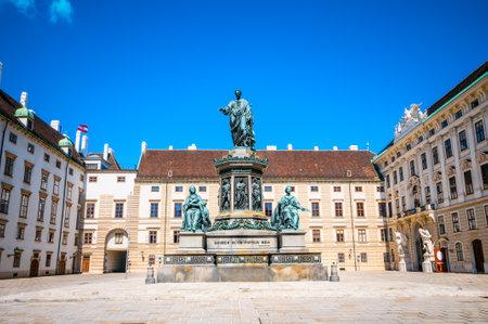 franz: Castle courtyard In der Burg and monument to Holy Roman Emperor Franz I in Vienna, Austria