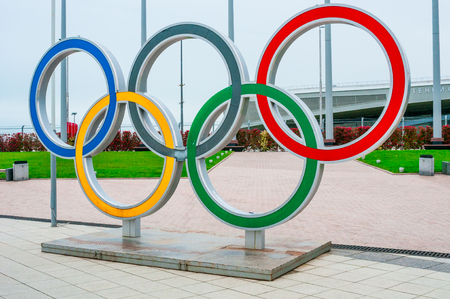 olympic symbol: Olympic rings in the Sochi Olympic Park