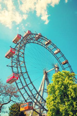 prater: VIENNA, AUSTRIA - APRIL 20, 2016: Giant Ferris Wheel in Prater Park