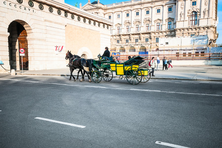 taxi famous building: VIENNA, AUSTRIA - APRIL 21, 2016: Traditional old-fashioned fiacre near Hofburg in Vienna Editorial