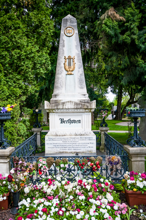 beethoven: VIENNA, AUSTRIA - APRIL 23, 2016: Grave of composer Ludwig van Beethoven  at Vienna Central Cemetery