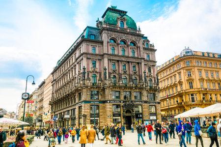 stephansplatz: VIENNA, AUSTRIA - APRIL 22, 2016: Tourists on Stephansplatz in center Vienna