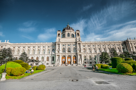 hofburg: VIENNA, AUSTRIA - APRIL 21, 2016: View on Natural History Museum in Hofburg