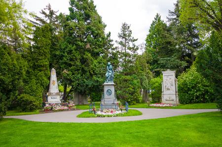 beethoven: VIENNA, AUSTRIA - APRIL 23, 2016: Graves of composers  Mozart, Beethoven and Schubert at Vienna Central Cemetery Editorial