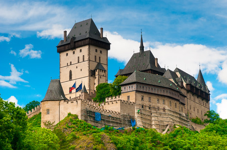 Medieval gothic royal castle  Karlstejn near Prague( Czech Republic) was built in the time of Charles IV