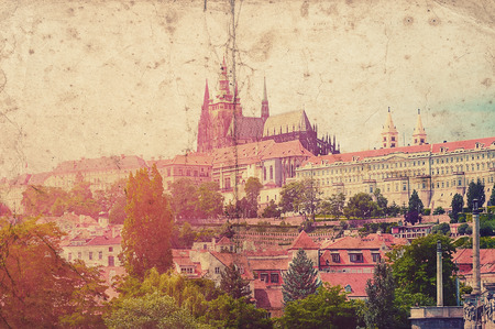 bohemia: Old vintage picture with Prague town, Czech republic