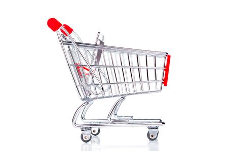 empty shopping cart: Empty shopping cart closeup on white background