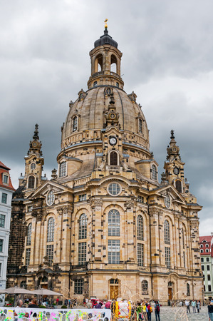 dresden: DRESDEN, GERMANY- JUNE 20, 2016:  Frauenkirche (Church of Our lady) at Neumarkt Square Editorial