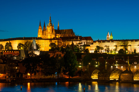 View on St.Vitus cathedral in Prague Castle at night, Czech Republic Editorial