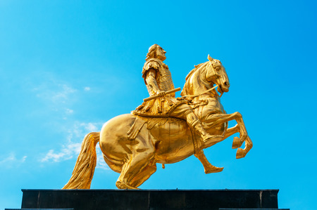 DRESDEN, GERMANY- JUNE 20, 2016: Goldener Reiter, the statue of August the Strong Editorial