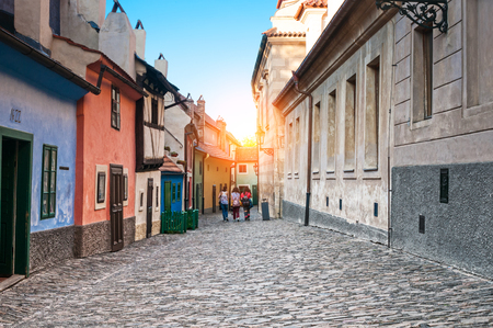Golden Lane of Hrandcany, located in Prague Castle Stock Photo