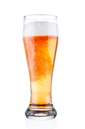 Beer glass closeup on white background