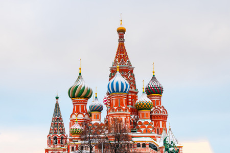 St. Basils Cathedral at Red Square in Moscow Stock Photo