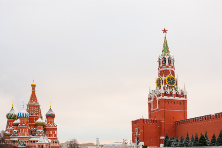 st  basil: View of Kremlin and Cathedral of St. Basil at the Red Square in Moscow Stock Photo