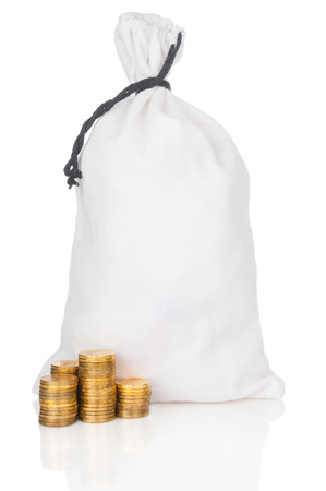 moneybag: Money bag and stacks of coins on white background