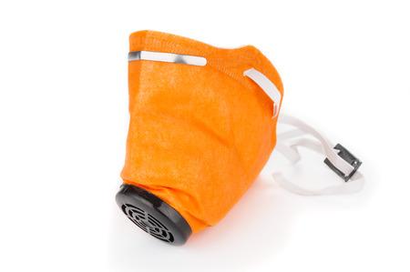 elementos de protección personal: Yellow respirator isolated on white background