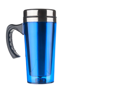 insulated: Blue thermo flask isolated on white background