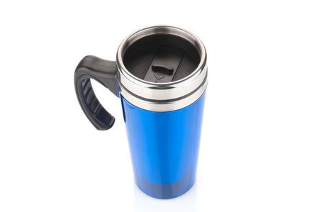 Blue aluminium mug on white background Stock Photo