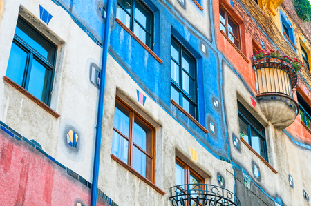 VIENNA, AUSTRIA - JUNE 05, 2017:  Hundertwasser Haus facade. The building was finished in 1985 and is one of finest examples of expressionist architecture. Editorial