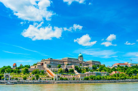 Beautiful landscape with Buda Castle Royal Palace and Danube river in Budapest, Hungary