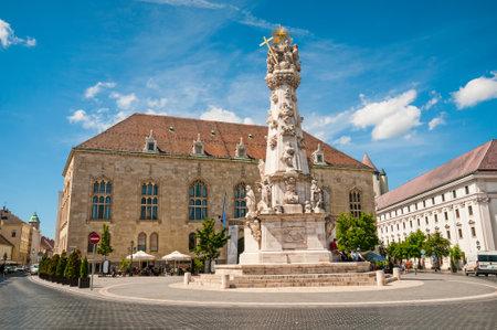 BUDAPEST, HUNGARY- JUNE 05, 2017: Holy Trinity Column from Matthias church