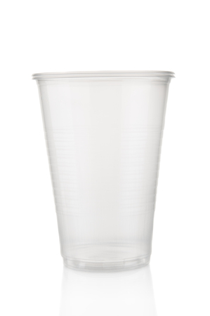 Plastic cup closeup on white background