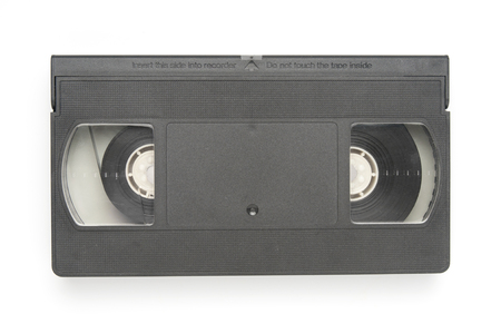 Video tape cassette closeup on white background Stock Photo